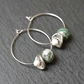 Floral Gemstone Hoops - silver white green