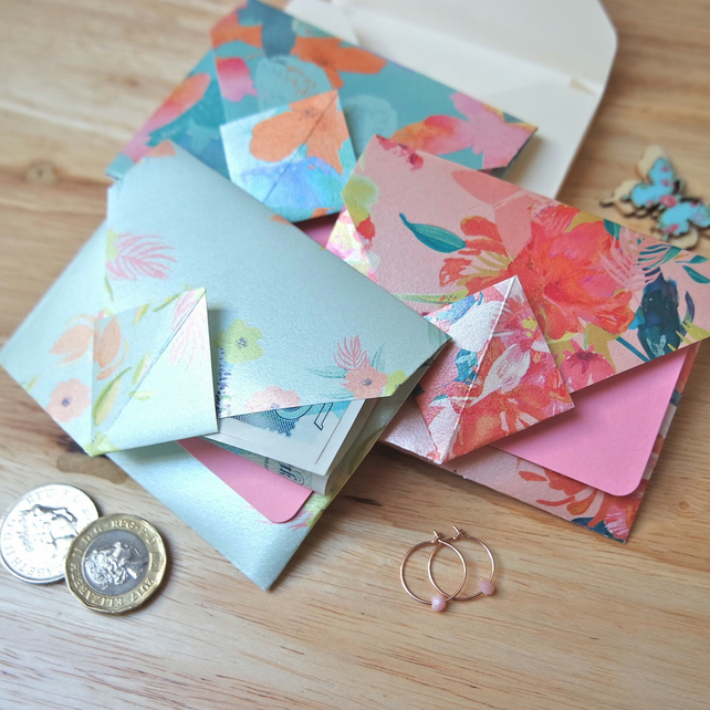 Origami Envelope Set - metallic pastel flowers
