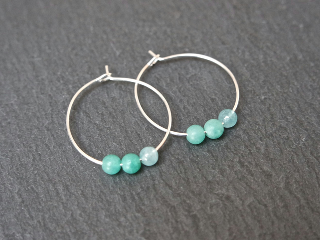 Gemstone Hoops - quartz green turquoise silver
