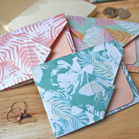 Origami Envelope Set - Tropical Leaves in Pastel Shades