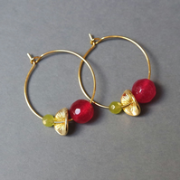 Floral Gemstone Hoops - Pink & Lime Green Quartz