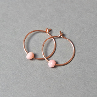 Rose-Gold Filled Hoops - Peruvian Pink Opal