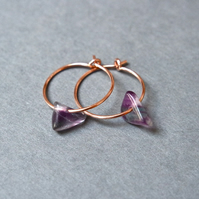 Rose-Gold Filled Hoops - fluorite aqua and violet