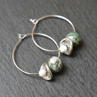 Floral Gemstone Hoops Moss Agate Quartz green white silver