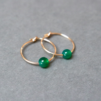 Gold Filled Hoops - Green Onyx