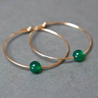 Gold Filled Hoops - Green Onyx large