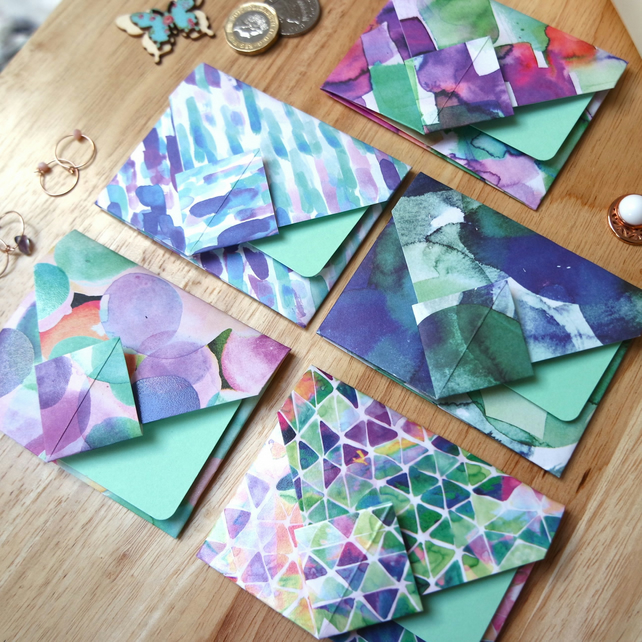 Origami Envelope Set 5 - Abstract patterns in summer purples, blues and greens