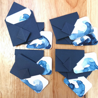 Mini Origami Envelope Box Set 8 - Ocean Watercolour Indigo