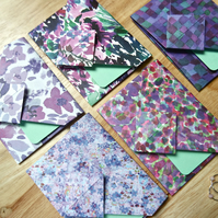 Origami Envelope Set 5 - Abstract flowers in summer purples, blues and greens