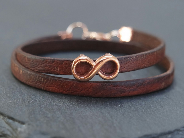 Leather wrap bracelet - infinity rose gold plated