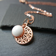 Necklace - rose gold plated flower of life