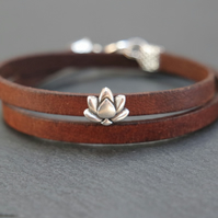 Leather wrap bracelet -lotus flower silver plated