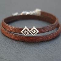 Leather wrap bracelet - geometric aztec silver plated