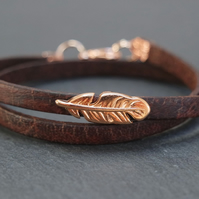 Leather wrap bracelet - feather rose gold plated