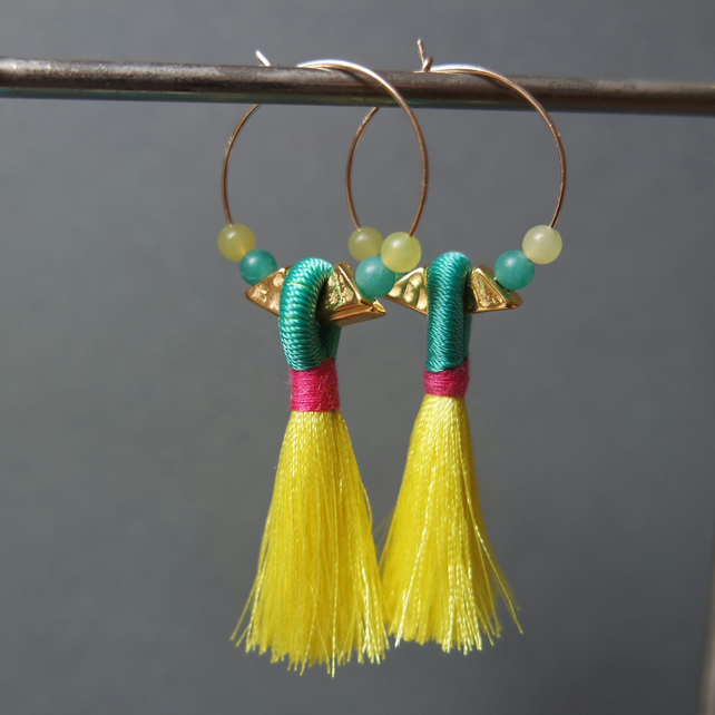Gold Filled Tassel Hoops - quartz green pink yellow