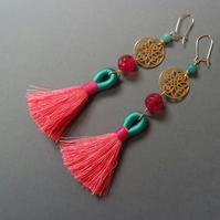 Tassel earrings Sterling silver gold vermeil - quartz turquiose pink