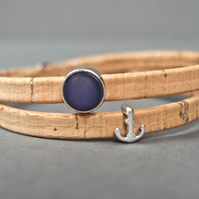 Cork wrap bracelet - anchor blue maritime stainless steel