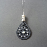 Mandala Crystal Necklace - 925 Silver Wood grey white long