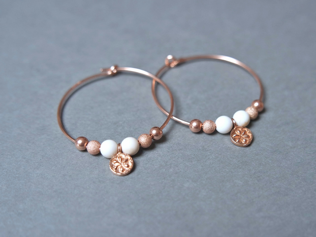 Rose-Gold Filled Hoops - magnesite daisy cream
