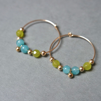 Gold Filled Hoops - Quartz lime-green turquoise