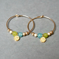Gold Filled Hoops - Quartz daisy lime-green turquoise