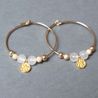 Gold Filled Hoops - Quartz daisy white
