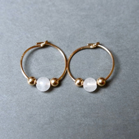 Gold Filled Hoops - Quartz white small