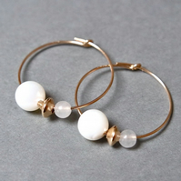 Gold Filled Hoops - Mother of Pearl Quartz
