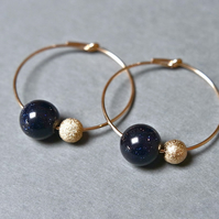 Gold Filled Hoops - Goldstone dark blue