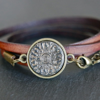 Leather bracelet - mandala black bronze brown