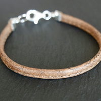 Vegan cork bracelet and 925 Sterling Silver fastener medium brown