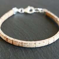 Vegan cork bracelet and 925 Sterling Silver fastener beige