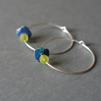 lime green earrings silver hoops, green blue flower