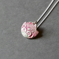 fine silver lotus necklace mandala flower pink green