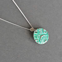 fine silver ornament necklace turquoise green