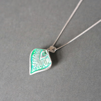 fine silver leaf necklace green turquoise flower