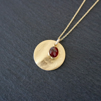 Garnet Gemstone Necklace, gold red, 925 Silver, gold Vermeil