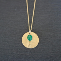 Green Onyx Gemstone Necklace, gold green, 925 Silver, gold Vermeil