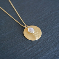 Moonstone Gemstone Necklace, gold white, 925 Silver, gold Vermeil