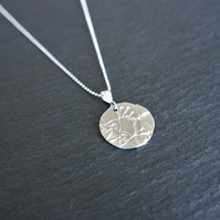 Fine silver necklace leaf pink flower mandala