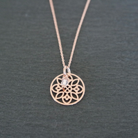 Moonstone Flower Mandala Necklace - 925 Sterling Silver Rose Gold Plated