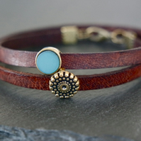 Leather wrap bracelet - dots teal antique-gold brown