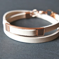 Leather wrap bracelet rose gold white