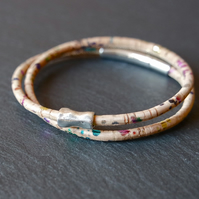 cork vegan rainbow wrap bracelet metallic with bead