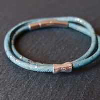Vegan cork wrap bracelet with bead in teal blue and silver