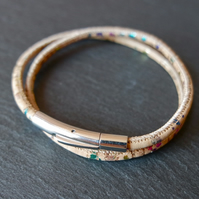 vegan cork wrap bracelet rainbow metallic
