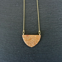 Mandala ochre Gold Vermeil Sterling silver Necklace