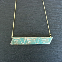 triangle bar turquoise Gold Vermeil Sterling silver Necklace