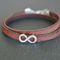 Leather wrap bracelet - infinity silver plated