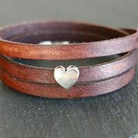 Leather wrap bracelet silver heart
